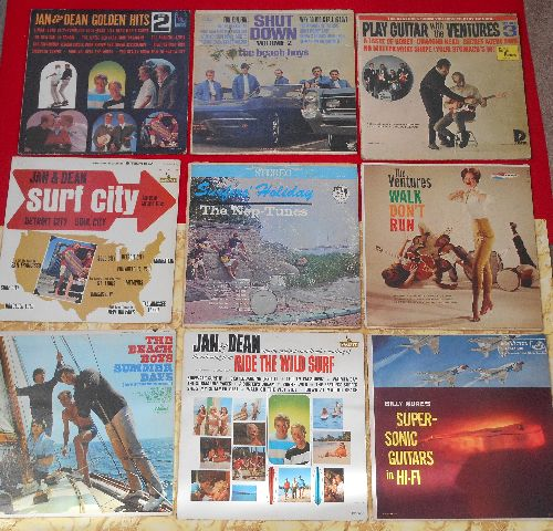 LP Covers Perfect Square - Perfect Square of 9 Vintage LP covers - California Surf Theme. VERY NICE for decorating a Party Room or for a Themed Event. Covers have NO records! - VG6/ - Supplies
