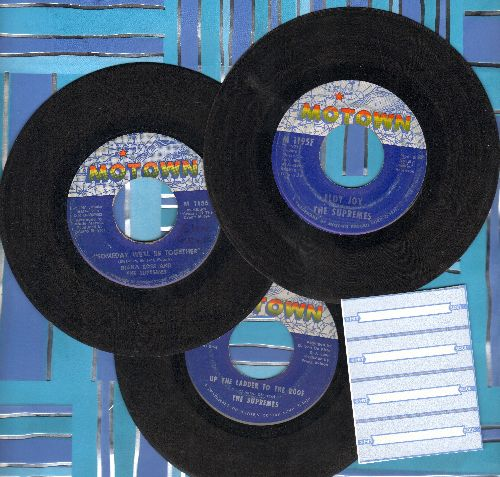 Supremes - 3-Pack of first issue 45s! Includes hits Someday We'll Be Together, Up The Ladder To The Roof and Floy Joy. Shipped in plain white paper sleeves with 4 blank juke box labels. - VG7/ - 45 rpm Records