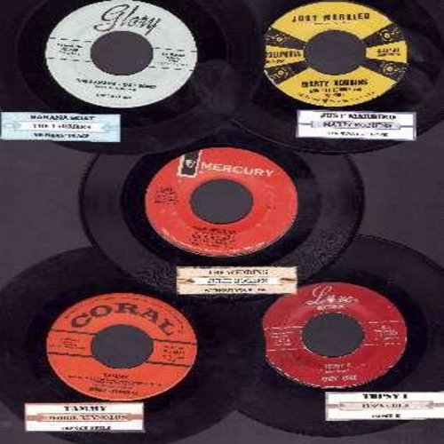 Cole, Cozy, Debbie Reynolds, Marty Robbins, Julie Rogers, Tarriers - Vintage 5-Pack of 45rpm records, each in very good or better condition and with juke box label. Hit titles include: Topsy Parts 1 + 2, Tammy, Just Married, The Wedding, Banana Boat Song.