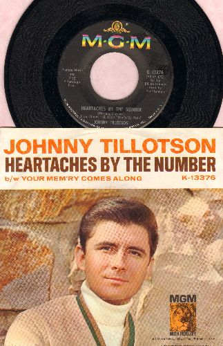 Tillotson, Johnny - Heartaches By The Number (Ich zaehle taeglich meine Sorgen)/Your Mem'ry Comes Along (with picture sleeve, NICE condition!) - NM9/NM9 - 45 rpm Records
