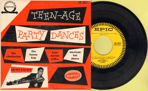 Anthony, Leroy & His Orchestra - Teen-Age Dance Party: Charleston/Bunny Hop/Beer Barrel Polka/Mexican Hat Dance (vinyl EP record with picture cover) - NM9/EX8 - 45 rpm Records