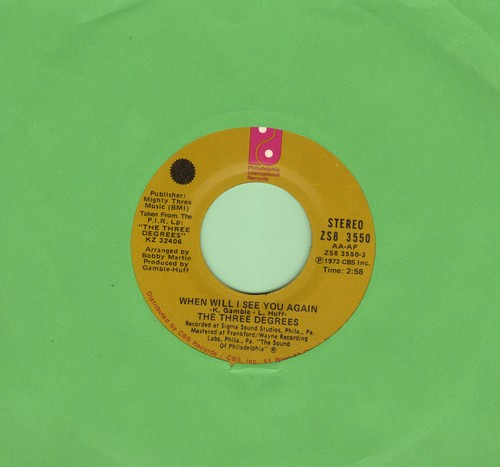 Three Degrees - When Will I See You Again/Year Of Decision - VG7/ - 45 rpm Records