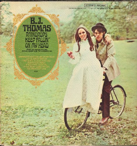 Thomas, B. J. - Raindrops Keep Fallin' On My Head: Little Green Apples, This Guy's In Love With You, Suspicious Minds, Mr. Mailman (vinyl STEREO LP record, gate-fold cover) - VG7/EX8 - LP Records