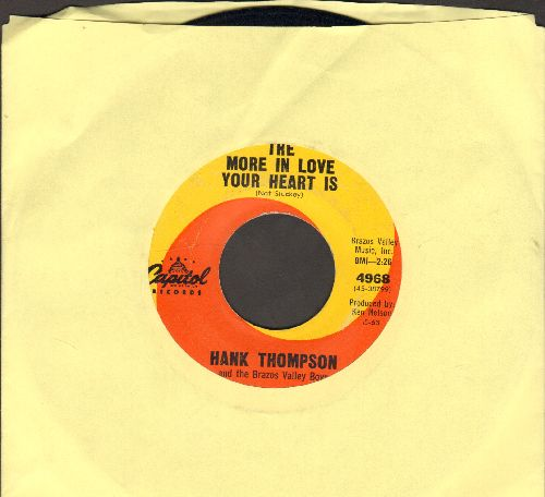 Thompson, Hank - The More In Love Your Heart Is/I Wasn't Even Running - EX8/ - 45 rpm Records