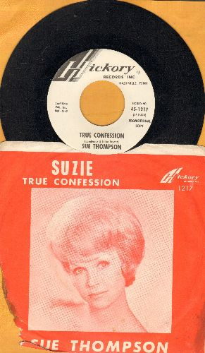 Thompson, Sue - Suzie/True Confession (with picture sleeve, about 10% of sleeve on bottom left torn off) - NM9/G4 - 45 rpm Records