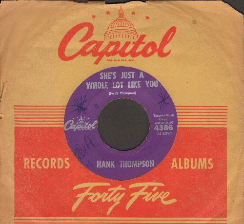 Thompson, Hank - She's Just A Whole Lot Like You/There My Future Goes (with vintage Capitol company sleeve) (minor wol) - EX8/ - 45 rpm Records