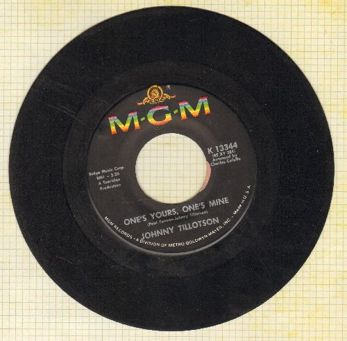 Tillotson, Johnny - One's Yours, One's Mine/Then I'll Count Again - EX8/ - 45 rpm Records