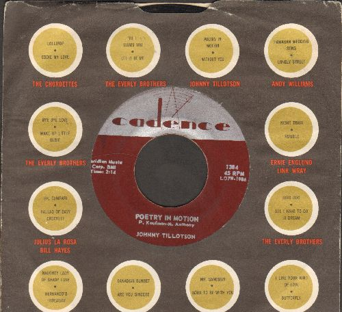Tillotson, Johnny - Poetry In Motion/Princess, Princess (WITH Cadence company sleeve) - EX8/ - 45 rpm Records
