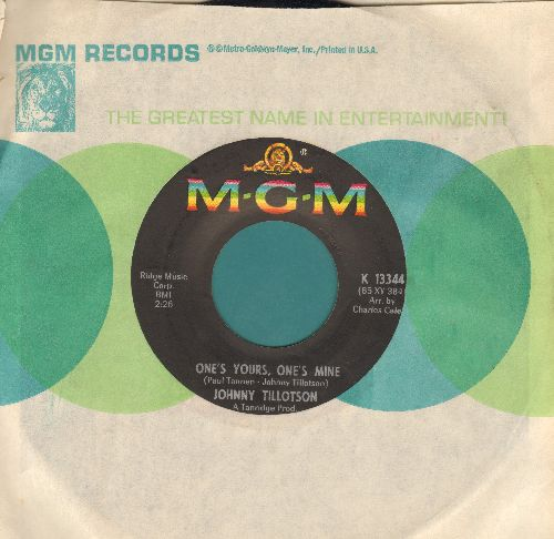 Tillotson, Johnny - One's Yours, One's Mine/Then I'll Count Again (with MGM company sleeve) - EX8/ - 45 rpm Records