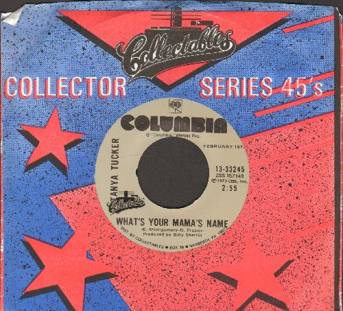 Tucker, Tanya - What's Your Mama's Name?/Blood Red And Goin' Down (double-hit re-issue with company sleeve) - M10/ - 45 rpm Records