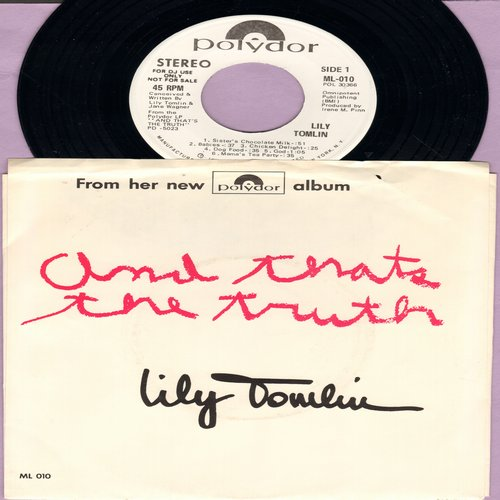 Tomlin, Lily - And That's The Truth: DJ Advance Copy of vinyl EP record featuring several clips from the legendary LP - with picture sleeve - Edith Ann tells it like it is!  - NM9/VG7 - 45 rpm Records