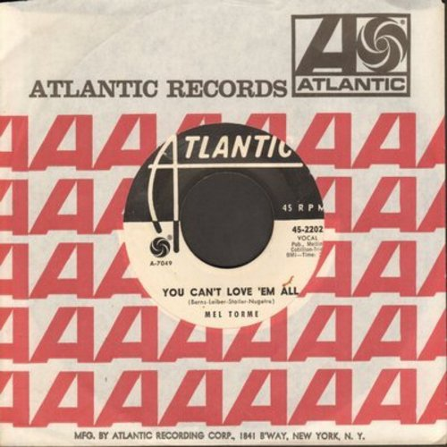 Torme, Mel - You Can't Love 'Em All/You Belong To Me (DJ advance pressing with Atlantic company sleeve) - EX8/ - 45 rpm Records
