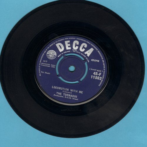 Tornadoes - Locomotion With Me (FANTASTIC Drag/Surf Version of the 1962 Little Eva NOVELTY Hit)/Globetrotter (British Pressing with removeable spindle-adaptor) - NM9/ - 45 rpm Records