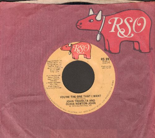 Travolta, John & Olivia-Newton John - You're The One That I Want/Alone At A Drive-In Movie (with RSO company sleeve) - NM9/ - 45 rpm Records