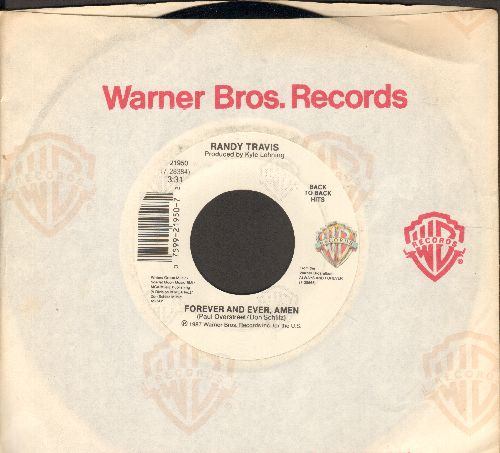 Travis, Randy - Forever And Ever Amen/Promises (with Warner Brothers company sleeve) - NM9/ - 45 rpm Records