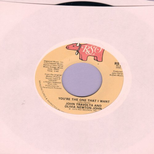 Travolta, John & Olivia-Newton John - You're The One That I Want/Alone At A Drive-In Movie  - EX8/ - 45 rpm Records
