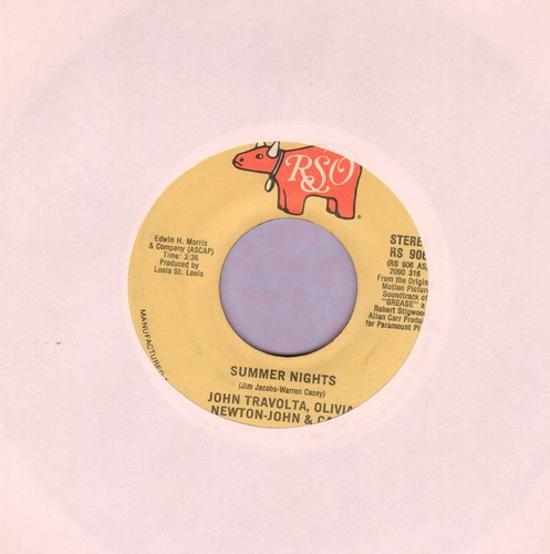 Travolta, John & Olivia Newton-John - Summer Nights (SING-A-LONG FAVORITE!)/Rock 'N' Roll Party Queen (by Louis St. Louis on flip-side, both songs featured in film -Grease-)(sol) - EX8/ - 45 rpm Records