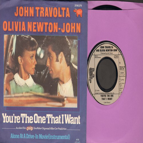 Travolta, John & Olivia-Newton John - You're The One That I Want/Alone At A Drive-In Movie (German Pressing with picture sleeve) - M10/NM9 - 45 rpm Records