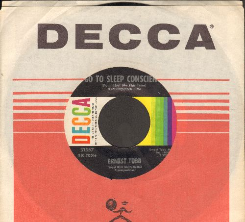 Tubb, Ernest - Go To Sleep Conscience (Don't Hurt Me This Time)/I Never Could Say No (with vintage Decca company sleeve) - NM9/ - 45 rpm Records