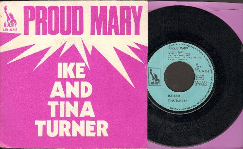 Turner, Ike & Tina - Proud Mary/Funkier Than A Mosquito's Tweeter (FRENCH Pressing with picture sleeve) - VG7/EX8 - 45 rpm Records