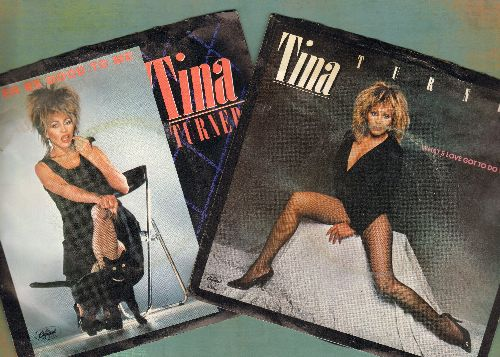 Turner, Tina - 2 for 1 Special: What's Love Got To Do With It/Better Be Good To Me (2 vintage first issue 45rpm records with picture sleeve for the price of 1!) - EX8/VG7 - 45 rpm Records