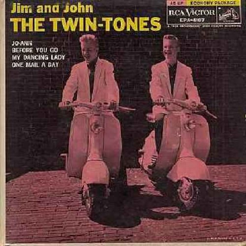 Twin-Tones (Jim & John) - Jo-Ann/Before You Go/My Dancing Lady/One Mail A Day (vinyl EP record with picture cover) - EX8/VG7 - 45 rpm Records