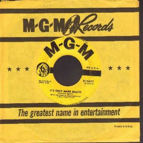 Twitty, Conway - It's Only Make Believe/I'll Try (yellow label first issue with vintage MGM company sleeve) - VG7/ - 45 rpm Records