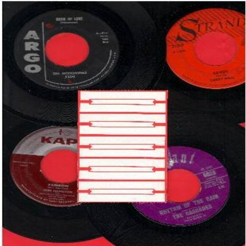 Cascades, Larry Hall, Monotones, Russ Hamilton - Dreamy Oldies 4-Pack: Rhythm Of The Rain, Sandy, Rainbow, Book Of Love. First issues with 5 blank juke box labels. Shipped in white paper sleeves. GREAT for a juke box! - VG7/ - 45 rpm Records