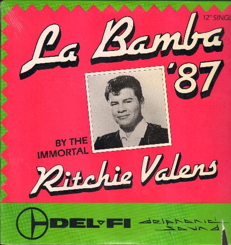 Valens, Ritchie - La Bamba '87 - 4 Extended Re-Mix Dance Club Version of the legendary Ritchie Valens Hit featuring the Immortal Ritchie valens! (12 inch vinyl Maxi Single, SEALED, with lower right cover cut-out) - SEALED/SEALED - Maxi Singles