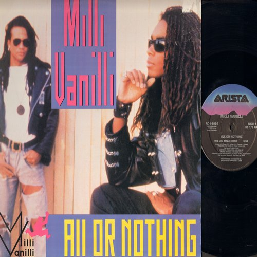 Milli Vanilli - All Or Nothing (8:54 minutes US Mega Remix + 4:04 minutes Remix, Dreams To Remember (3:54 minutes Radio Remix (12 inch vinyl Maxi Single with picture cover) - NM9/EX8 - LP Records