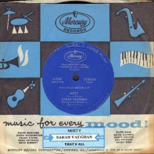 Vaughan, Sarah - Misty/That's All (RARE 7 inch 33rpm record with small spindle hole, with juke box label and vintage Mercury company sleeve) - M10/ - 45 rpm Records