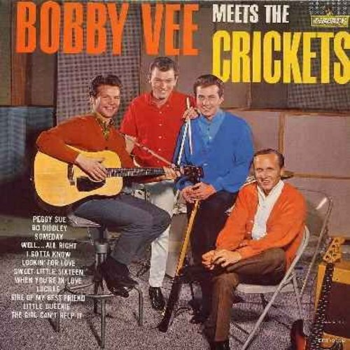 Vee, Bobby - Bobby Vee Meets The Crickets: Peggy Sue, Bo Diddley, Someday, Lucille, Girl Of My Best Friend, The Girl Can't Help It (vinyl MONO LP record) - VG7/VG6 - LP Records