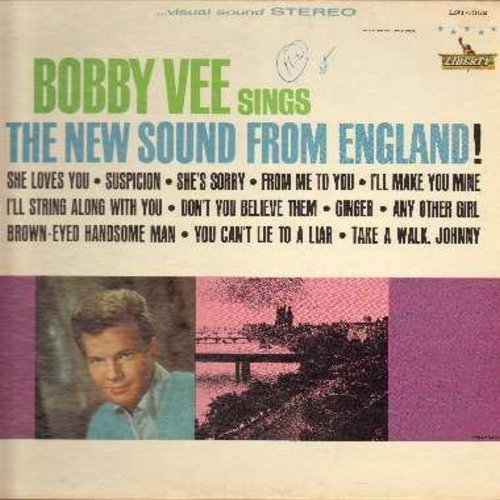 Vee, Bobby - The New Sound From England!: She Loves You, From Me To You, I'll Make You Mine, Suspicion, Ginger (vinyl STEREO LP record) - M10/EX8 - LP Records