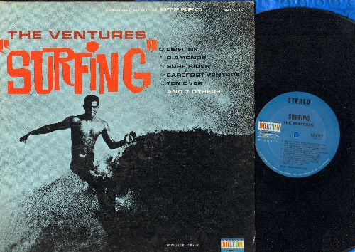 Ventures - Surfing: Pipe Line, Diamonds, Surf Rider, Windy & Warm, The Heavies, The Ninth Wave, Barefoot Venture, Party In Laguna (vinyl STEREO LP record) - EX8/EX8 - LP Records
