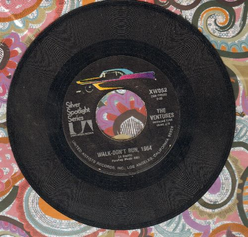 Ventures - Hawaii Five-O/Walk Don't Run, 1964 (double-hit re-issue) - EX8/ - 45 rpm Records