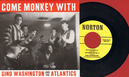 Washington, Gino & The Atlantics - Come Monkey With Gino Washington & The Atlantics: Come Moneky With Me/Out Of This World/Hearfburn/Monkey Tree (vinyl EP record with picture sleeve, re-issue of vintage recordings) - NM9/NM9 - 45 rpm Records