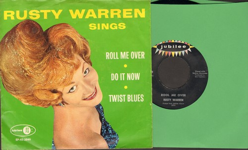 Warren, Rusty - Rool Me Over/Do It Now/Twist Blues (vinyl EP record with RARE picture sleeve) - NM9/EX8 - 45 rpm Records