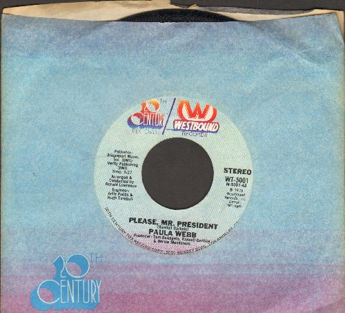 Webb, Paula - Please, Mr. President (Open letter to the US President from a 1st grade girl whose father lost his job -- similar to the 1960s tear-jerker Becky's Christmas Wish)/Paula's Theme - NM9/ - 45 rpm Records