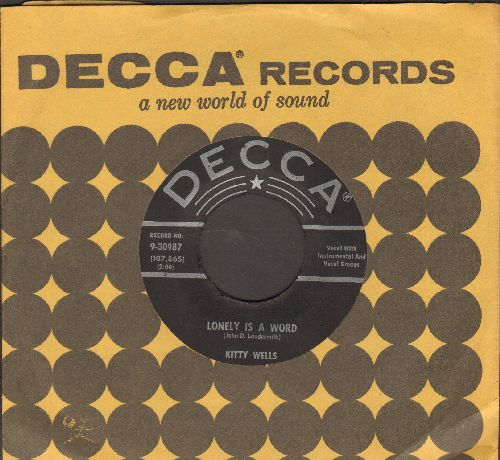 Wells, Kitty - Lonely Is A Word/Amigo's Guitar (with vintage Decca company sleeve) - NM9/ - 45 rpm Records