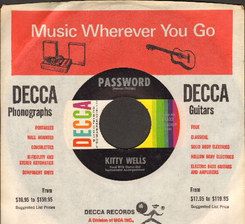 Wells, Kitty - Password/I Thought Of Leaving You (with vintage Decca company sleeve) - NM9/ - 45 rpm Records