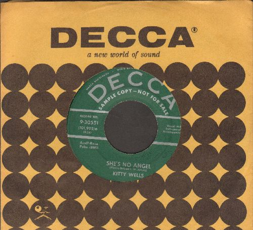 Wells, Kitty - She's No Angel/I Can't Stop Loving You (DJ advance pressing with Decca company sleeve) - EX8/ - 45 rpm Records