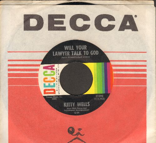 Wells, Kitty - Will Your Lawyer Talk To God/The Big Let Down (MINT condition with Decca company sleeve) - M10/ - 45 rpm Records