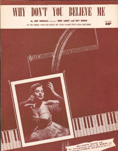 James, Joni - Why Don't You Believe Me - Vintage SHEET MUSIC for song racorded by Joni James (NICE cover portrait!) - EX8/ - Sheet Music