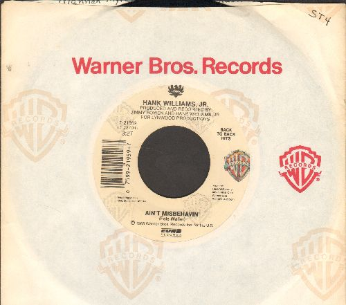 Williams, Hank Jr. - Ain't Misbehavin'/This Ain't Dallas (double-hit re-issue with Warner Brothers company sleeve) - EX8/ - 45 rpm Records