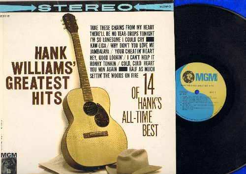 Williams, Hank - Hank Williams' Greatest Hits: Cold Cold Heart, Jambalaya, Your Cheatin' Heart, Hey Good Lookin', Half As Much, I'm So Lonesome I Could Cry (vinyl STEREO LP record, 1980s pressing) - NM9/NM9 - LP Records