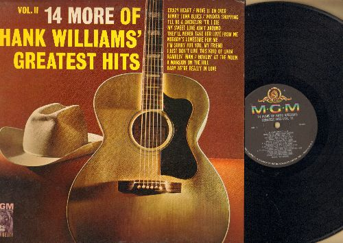 Williams, Hank - 14 More Of Hank Williams' Greatest Hits Vol. II: Honky Tonk Blues, Crazy Heart, Ramblin' Man, A Mansion On The Hill (vinyl MONO LP record) - NM9/EX8 - LP Records
