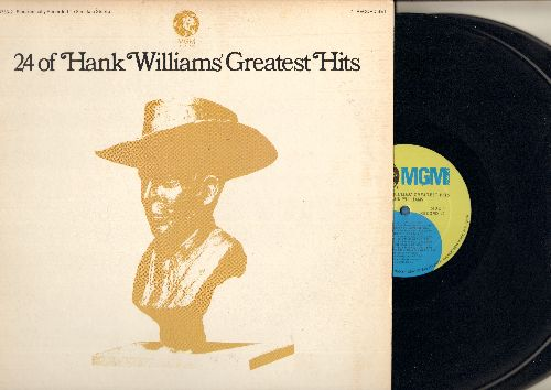 Williams, Hank - 24 Of Hank Williams' Greatest Hits: Your Cheatin' Heart, Jambalaya (On The Bayou), Lovesick Blues, Honky Tonk Blues, Cold Cold Heart (2 vinyl STEREO LP records, gate-fold cover) - NM9/EX8 - LP Records