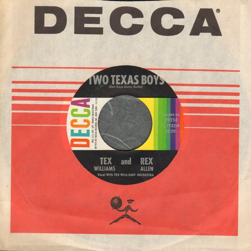 Williams, Tex & Rex Allen - Two Texas Boys/This Ole House (FANTASTIC Vintage Country-Western 2-sider! - with Decca company sleeve) - NM9/ - 45 rpm Records
