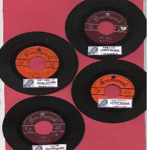 Wilson, Jackie - 4 Original 45rpm records by the Legendary Jackie Wilson. All records are vintage first issues in very good to excellent condition with juke box label. Includes Night/Doggin' Around, To Be Loved/Come Back To Me, Am I The Man/Alone At Last,