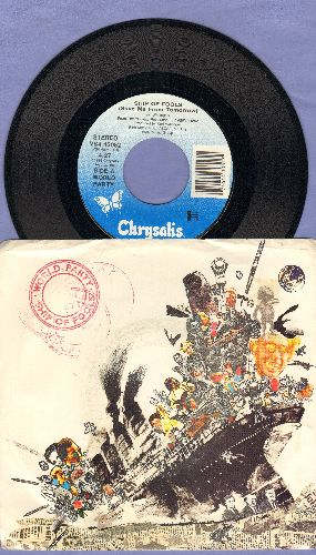 World Party - Ship Of Fools (Save Me From Tomorrow)/Holy Water (with picture sleeve, song lyrics of hit on back of picture sleeve!) - NM9/EX8 - 45 rpm Records